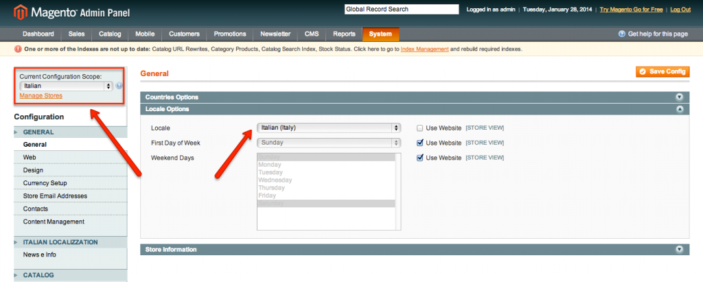 settings store view configurations