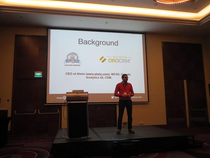 Viacheslav Kravchuk speaking at Meet Magento Poland 2014