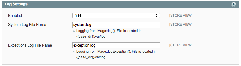 log settings in magento system config