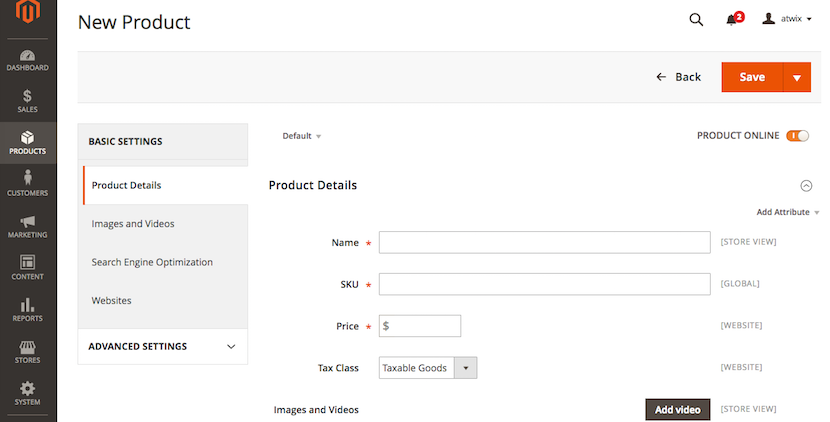 Magento2 product creation