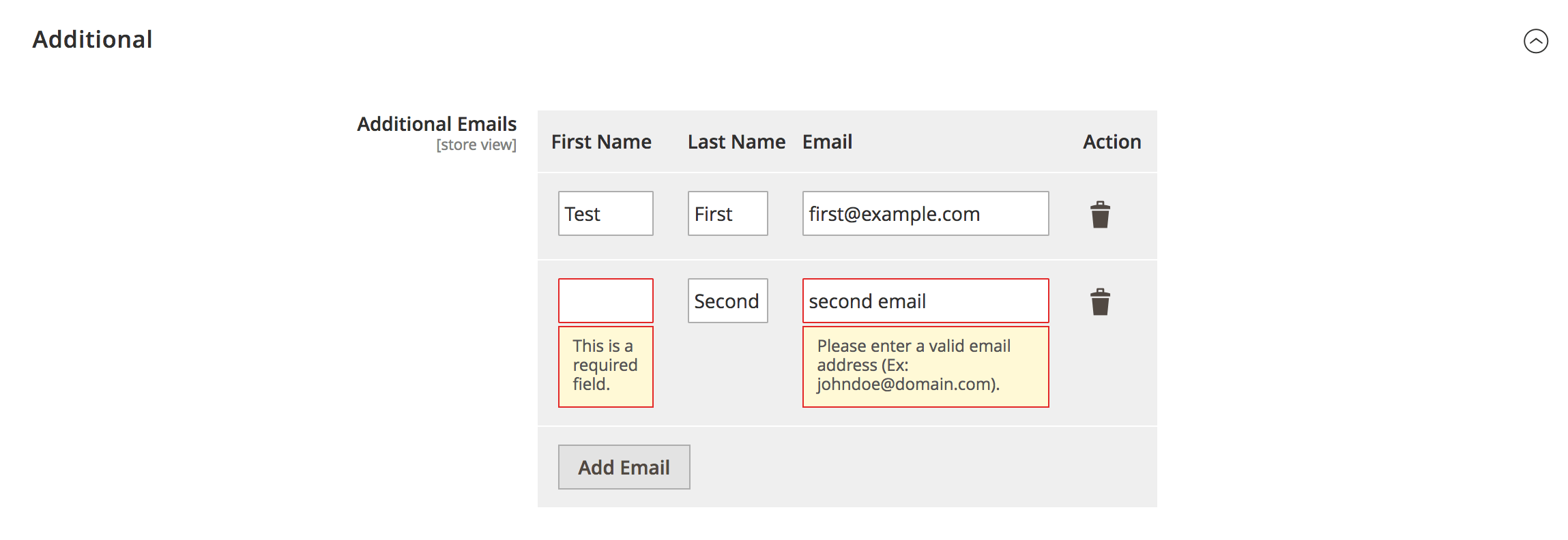 Magento 2 System Config Dynamic Fields Validation