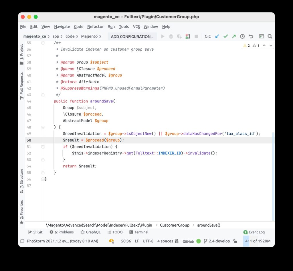 Magento source code in the PHPStorm running remotely